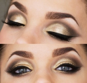 Smoky-Eye-Make-up-with-Golden-Shimmer